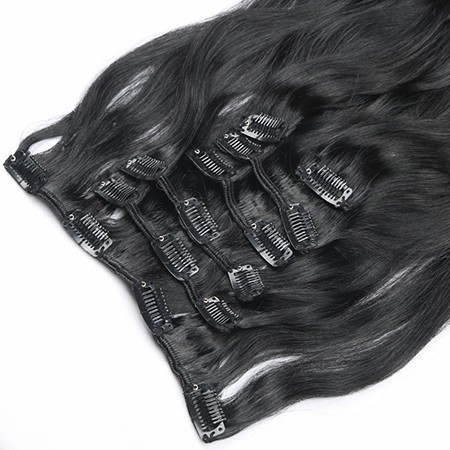 Black color #1 clip in hair extension