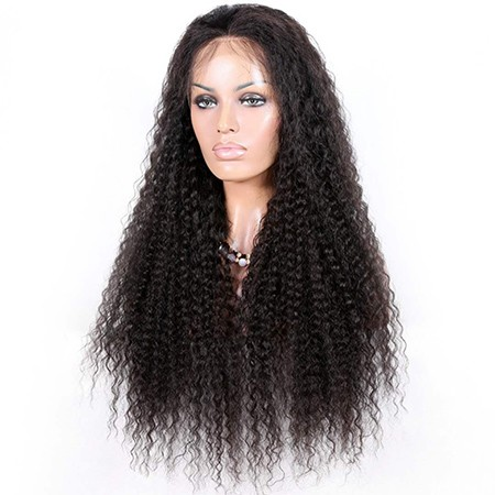 Virgin human hair kinky curl lace front wig