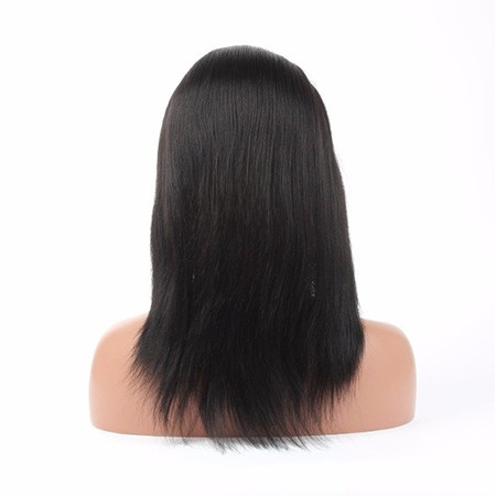 Virgin human hair straight lace front wig