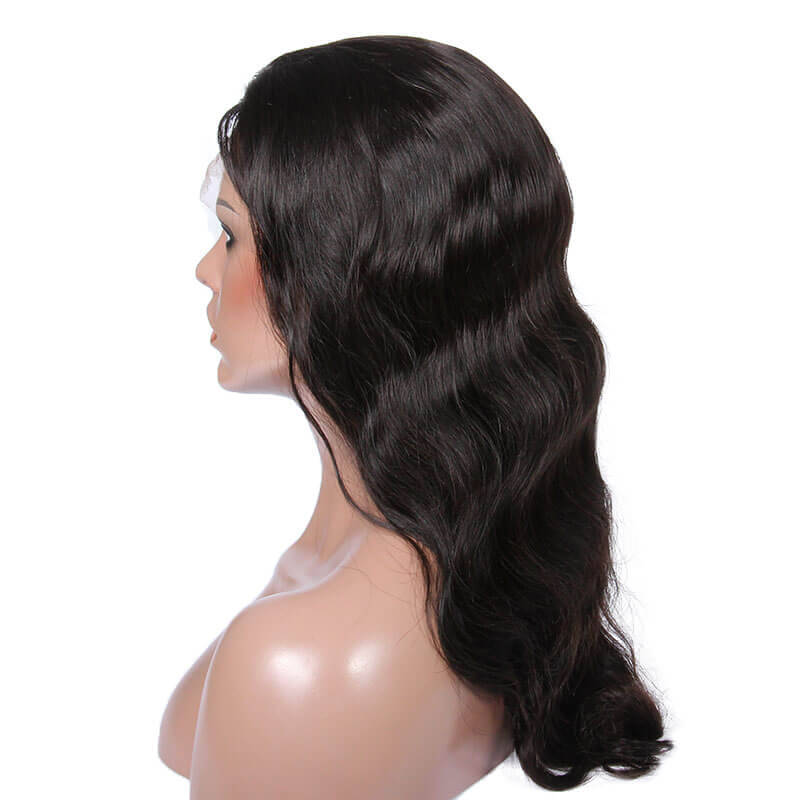 Virgin human hair body wave full lace wig
