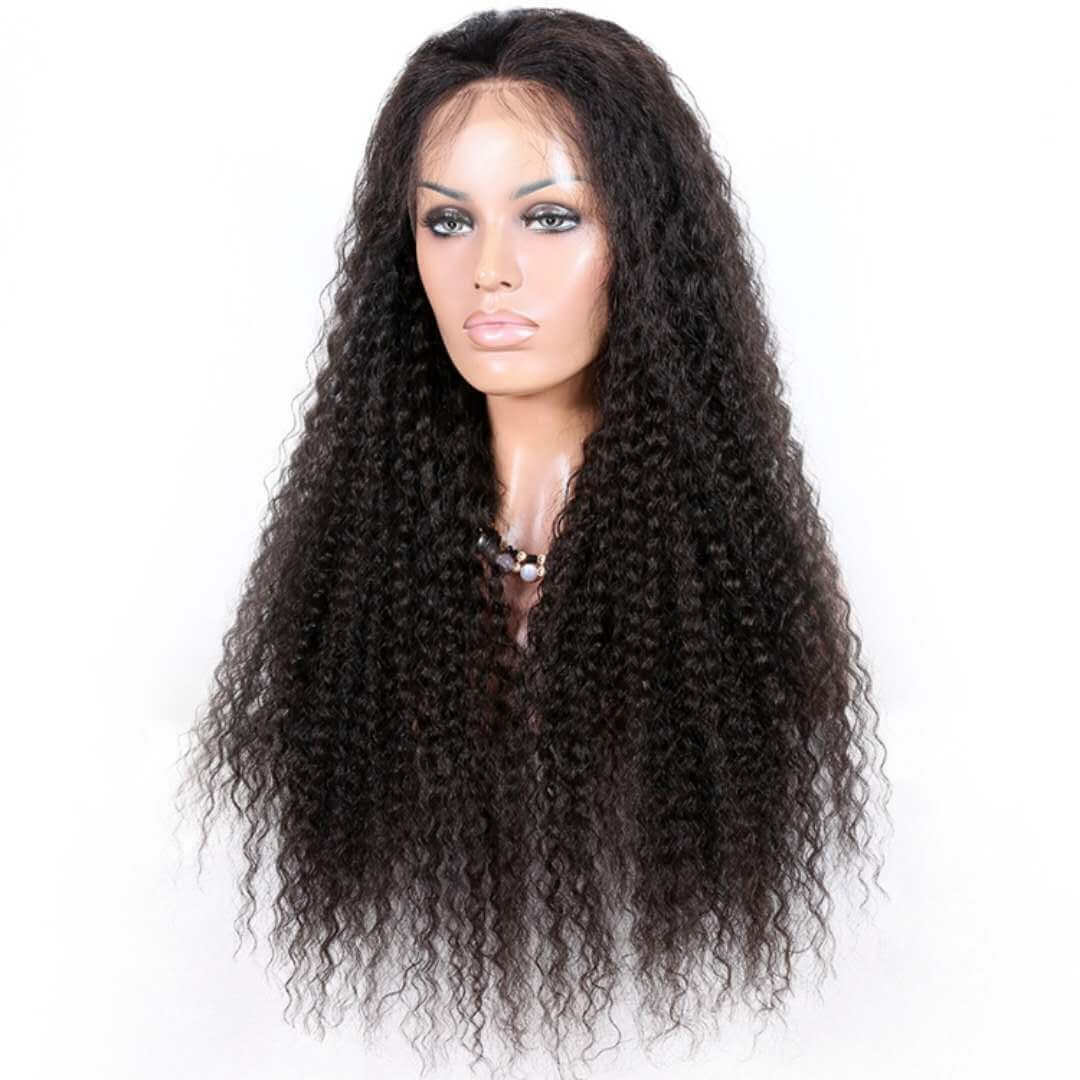 Virgin human hair Kinky curl lace front wig01