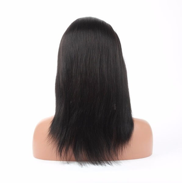 Virgin human hair straight lace front wig03